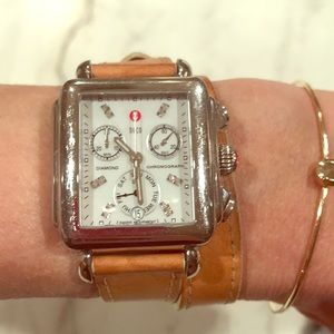 Authentic Michele deco watch with wrap tan strap